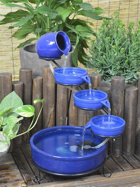 Solar Powered Water Cascade Look No Wires by Solar Powered Blue Terracotta Cascade Water Features 2 Go