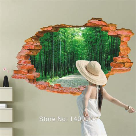 Large Wall Art Stickers 2015 large wall sticker tree forest landscape 3d brick