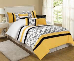 7 piece queen mateo yellow black white comforter set ebay