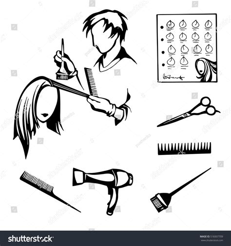 Hairstyle Tools Designs For Silhouette Cutting by Vector Black White Set Tools Hairdressers Stock Vector