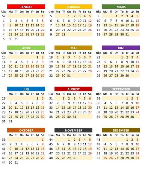 Kalender Med Uke Nr 2018 Ukekalender Ukekalender 2017