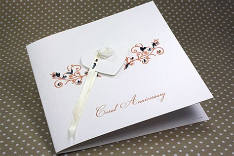 handmade anniversary card quot coral wedding quot