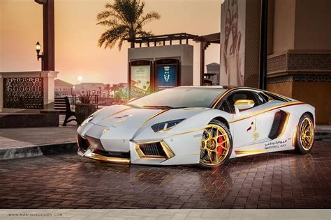lamborghini aventador is gold plated for qatar national day