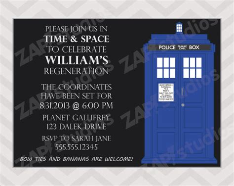 doctor who birthday card template free printable doctor who birthday invitations