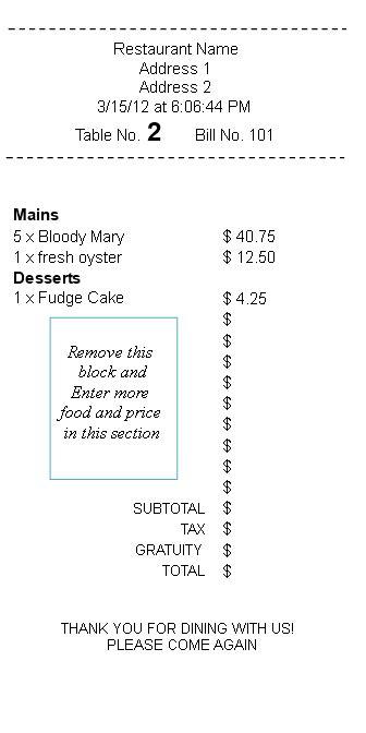 Basic Restaurant Receipt | Templates at
