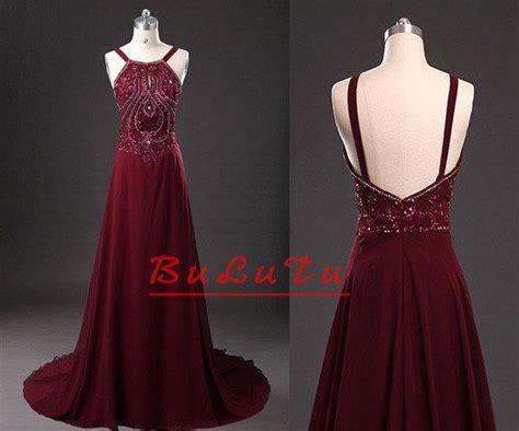 Dresslong Dress Cerry Black Diskon maroon beading halter straps chiffon from bulutu on etsy