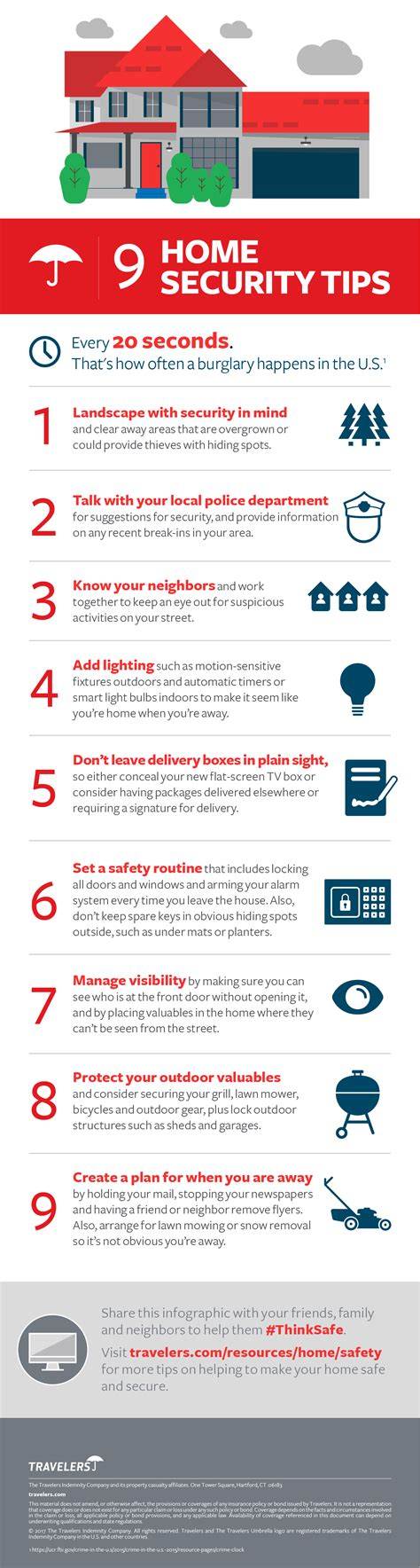 9 home security tips infographic travelers insurance