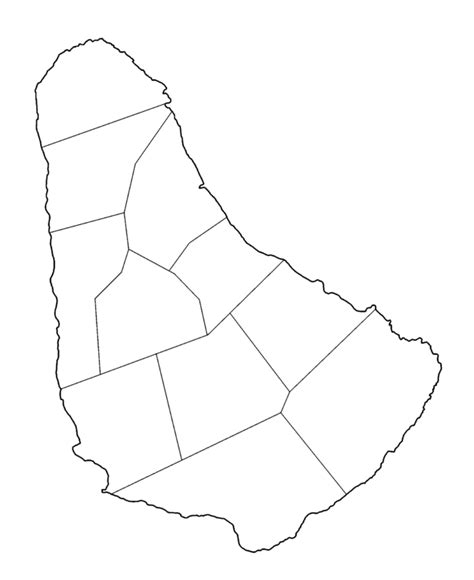 barbados maps including outline and topographical maps file barbados parishes blank png wikimedia commons