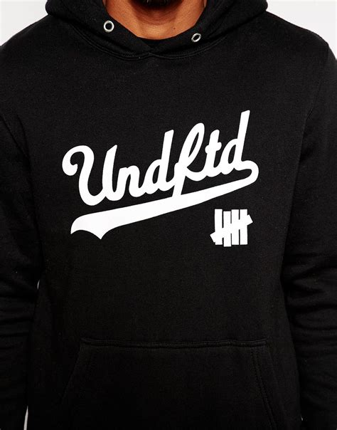 Jaket Zipper Hoodie Sweater Undefeated Logo undefeated script logo hoodie in black for lyst