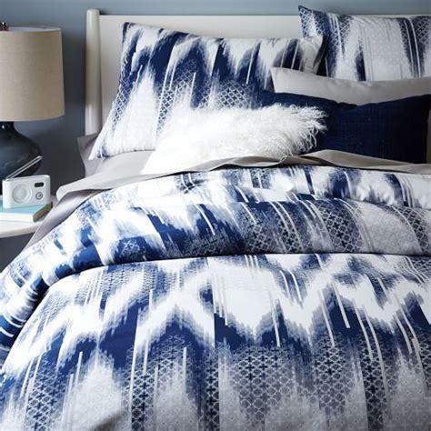 organic ikat grey and blue diamond duvet cover and shams