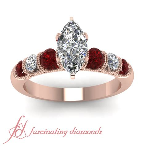 Ruby 9 2ct channel set ruby engagement ring 1 2 ct marquise cut