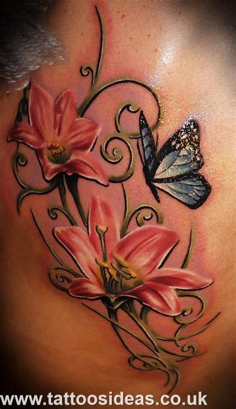 lily tattoo for men collection of 25 butterfly n flowers on back