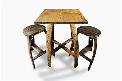 Flattened Stools by 26 Square Table With Flat Stool Bourbon Barrel