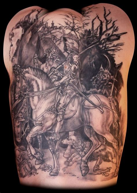 medieval tattoo warrior in armor on horseback on back