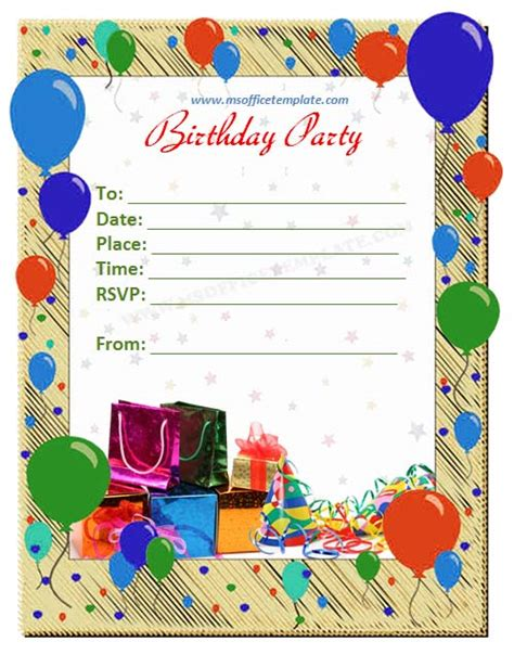 birthday invitation card template free microsoft office templatesbirthday invitation card