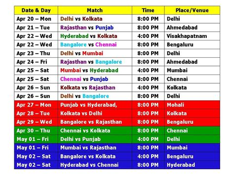 time table of ipl 2016 calendar template 2016 2016 vivo ipl match time table schedule download
