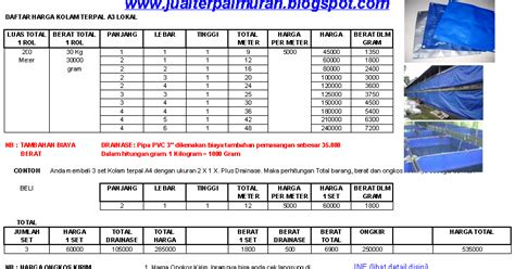 Harga Kolam Terpal Terbaru jual terpal murah daftar harga kolam terpal a3 lokal