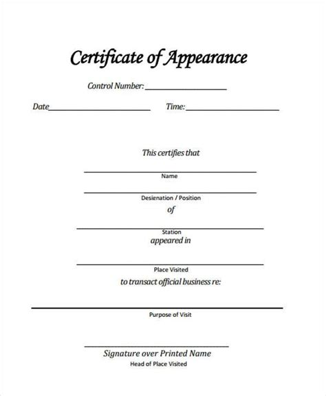 certificate of appearance template 41 sle certificate forms