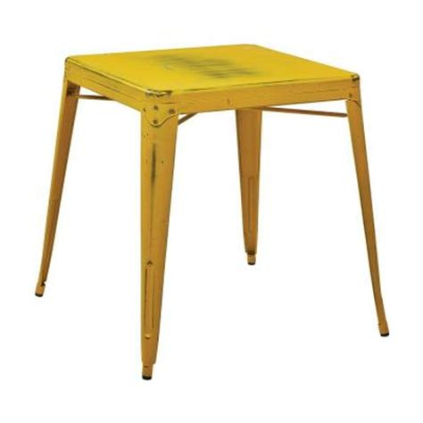 Yellow Accent Table Work Smart Bristow Antique Yellow Metal Accent Table Brw432 Ay The Home Depot