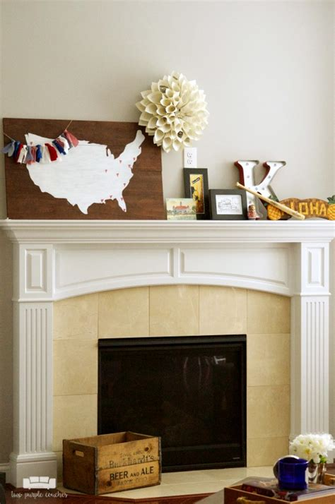 travel inspired summer mantel two purple couches