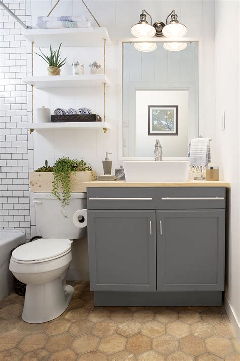 a builder grade bathroom transformation with lowe s