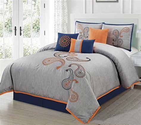 Navy Paisley Comforter Set Bedding Chezmoi Collection 7 Navy Orange Paisley Floral Embroidery Comforter Bedding Set
