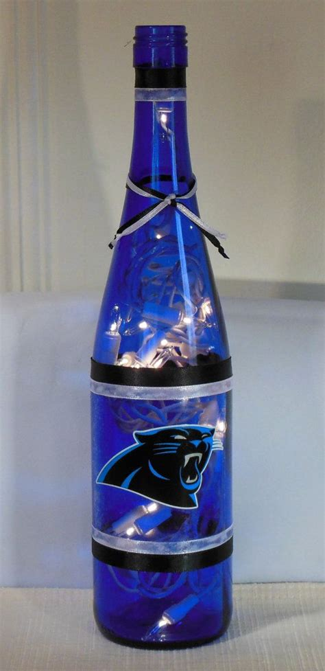 Carolina Panthers Lamp by Carolina Panthers Nfl Football Wine Bottle Lamp By