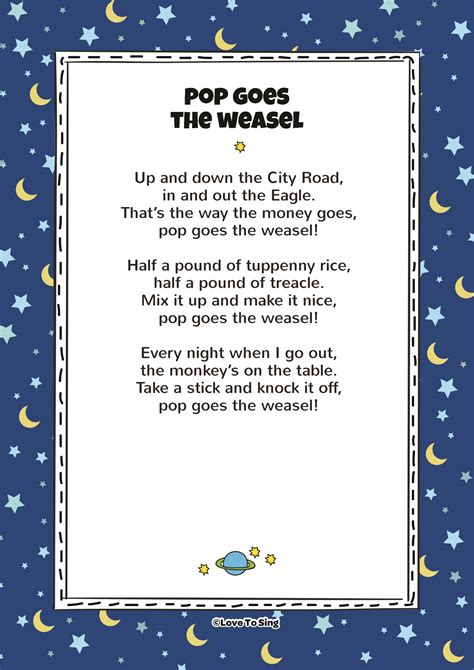 pop goes the weasel pop goes the weasel kids video song with free lyrics activities