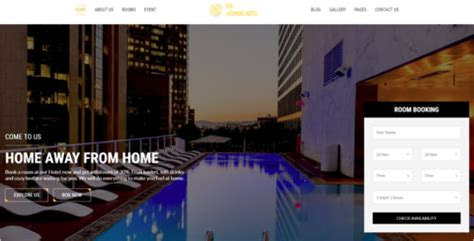 bootstrap templates for hotel management 40 best hotel website templates free premium themes
