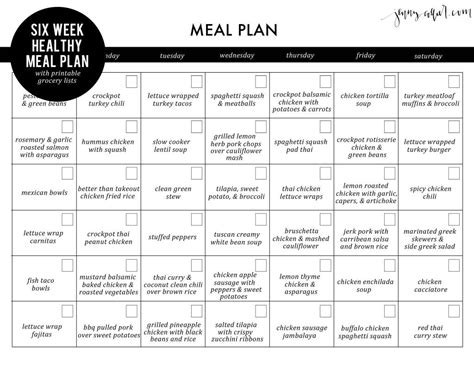 Galerry free printable healthy meal plan