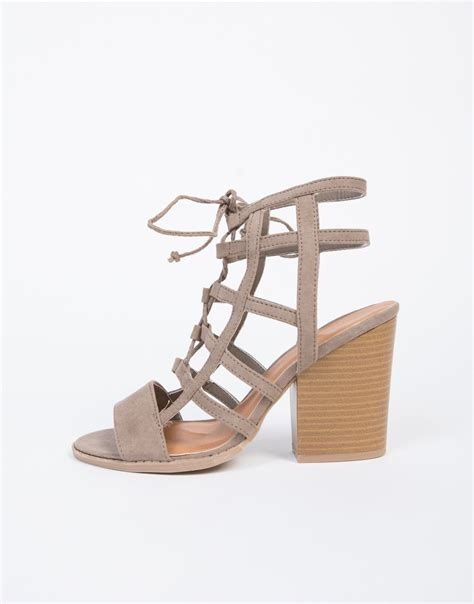 caged sandals heels caged chunky heel sandals brown cut out strappy heel