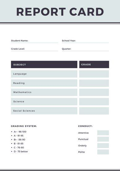 homeschool middle school report card template blue college report card templates by canva