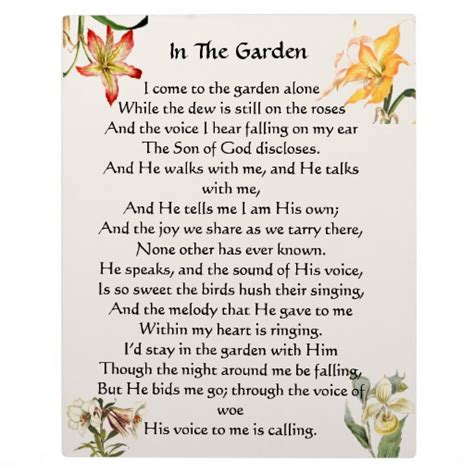 Garden Of Lyrics In The Garden Hymn Floral Plaque Zazzle