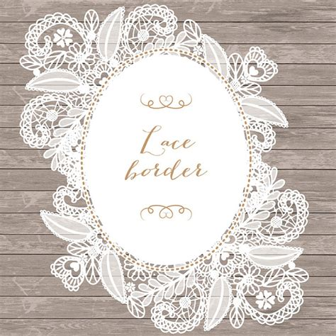 lace border clip vector floral lace frame illustrations on creative market