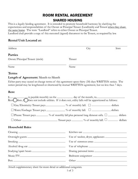 printable rental agreement bc simple room rental agreement form free basement rental