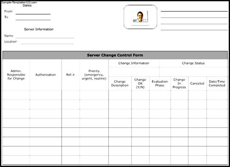 Server Sample Resume by Server Change Control Form Template Sample Templates