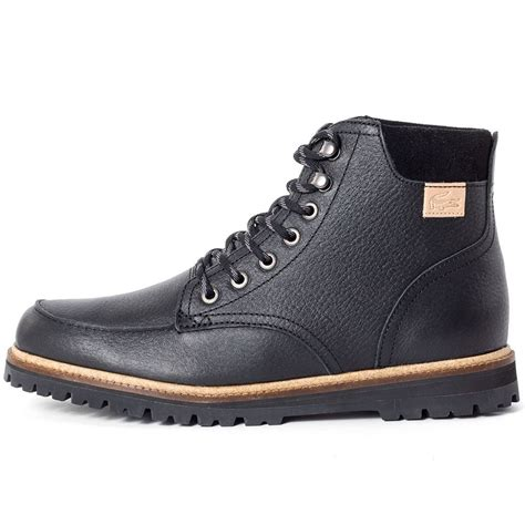mens hi top boots lacoste montbard hi top mens ankle boots in black