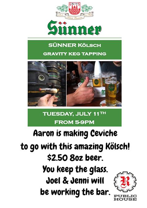 r public house sunner kolsch gravity keg tapping r public house chicago