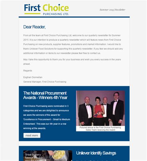 email marketing newsletter templates choice purchasing ltd
