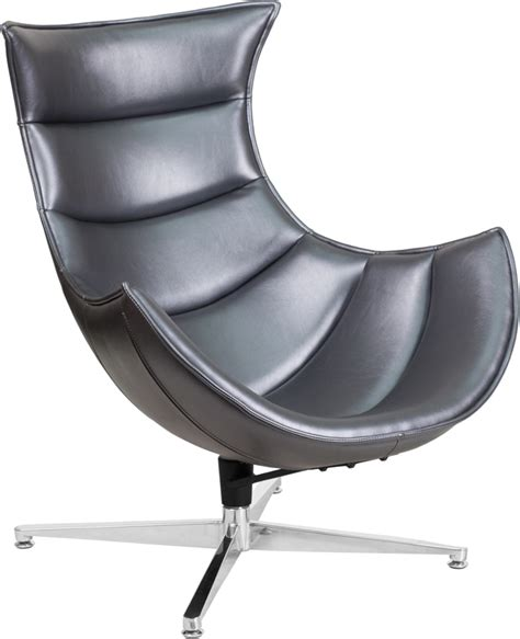 grey leather swivel chair gray leather swivel cocoon chair