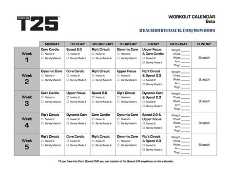 Beta T25 Calendar Is Living Well