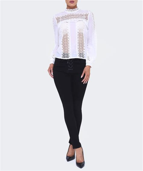 Rak Gantung Uk 32 16 42cm With Color self portrait lace panel top in white lyst