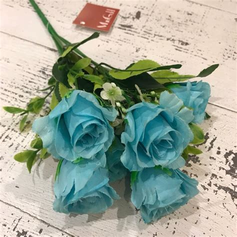 Bunga Plastik Shabbychid Bunga Artifisial Mawar Merah Putih Dedaunan jual terbaru bunga plastik shabbychic bunga mawar biru buket di lapak zulva mart zulfamart