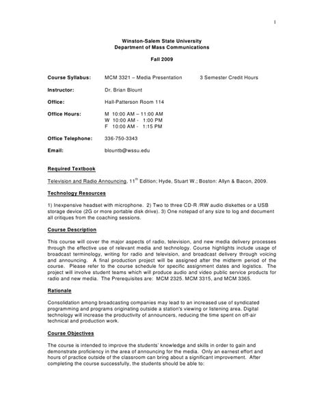 class syllabus template sle course syllabus mcm 3321 media presentation