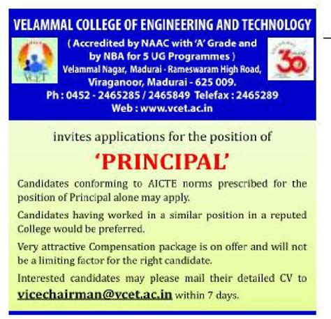 Mba Faculty Salary As Per Aicte Norms by Velammal College Of Engineering And Technology Madurai