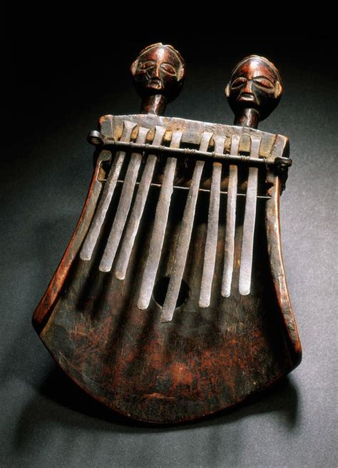 instrument with metal africa lamellophone or thumb piano kasanji from the