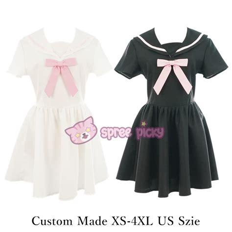 Costum Seifuku custom made xs 4xl black white sailor seifuku dress