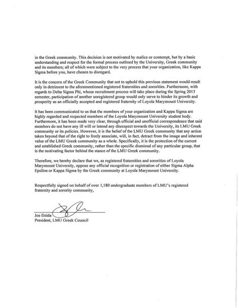 Community Service Recommendation Letter Sorority Unofficial Fraternity Colonizes Cus News Laloyolan