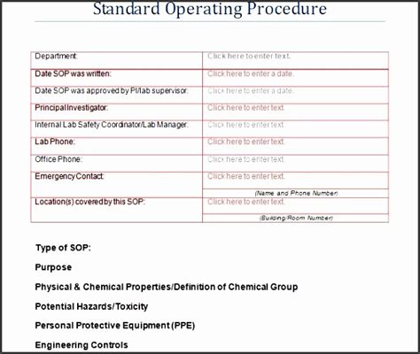 11 standard operating procedure template