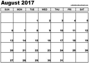 Downloadable Calendar August 2017 Calendar Printable Templates Printable